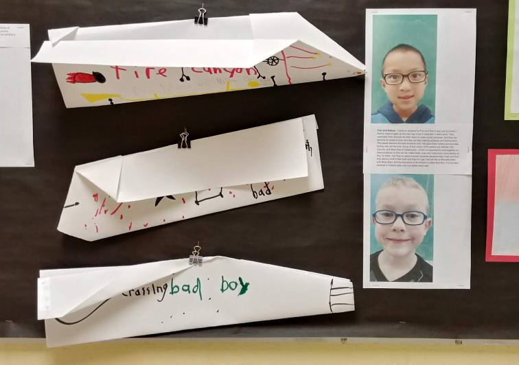 Finn and Nathan worked over several class periods to design different airplanes. They had a lot to say about the process and the text that accompanies their work plays an important role in setting the context for the planes they chose to display.