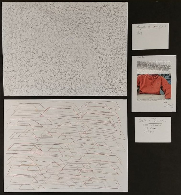 Chris wanted to make some interactive drawings. He created a series of abstract artworks that repreated the same shape over and over again. When the work was hung up in the hallway, he asked for paper to go alongside each piece where students could guess how many shapes were in the drawings.